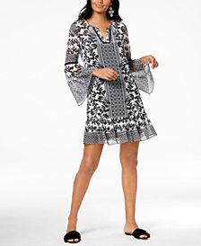 I.N.C. Printed Bell-Sleeve Dress, Created for Macy's