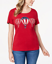 Karen Scott Americana Embellished Balloon Top, Created for Macy's