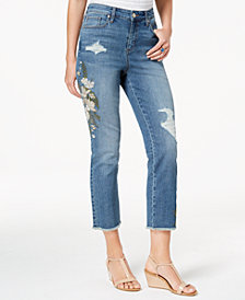 Style & Co Petite Embroidered Straight-Leg Cropped Jeans, Created for Macy's