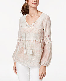 Style & Co Petite Printed Eyelet-Trim Peasant Top, Created for Macy's