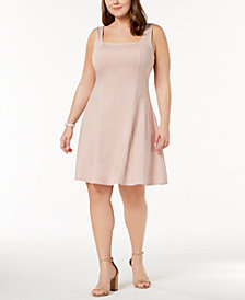 Soprano Trendy Plus Size Square-Neck Fit & Flare Dress