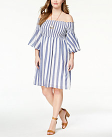 Lucky Brand Trendy Plus Size Cotton Smocked Off-The-Shoulder Dress