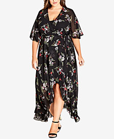 City Chic Trendy Plus Size Sheer Wrap Dress