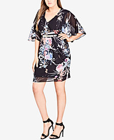 City Chic Trendy Plus Size Kimono Wrap Dress