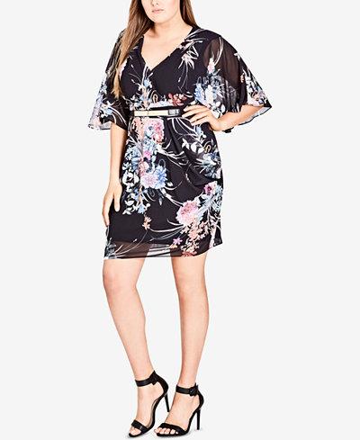 City Chic Trendy Plus Size Kimono Wrap Dress