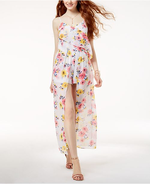 Romper Print Macy's Seventeen Maxi Juniors' Edit By White Multi Created for Floral The wCqFa0XnxW