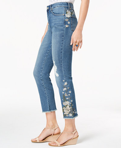 Style & Co Ripped Embroidered Crop Jeans, Created for Macy's