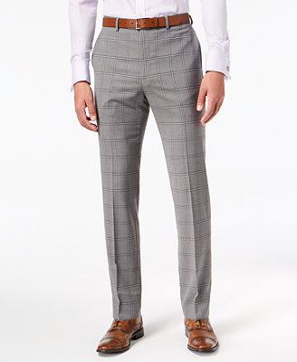 Men's Slim Fit Stretch Black/White Windowpane Suit Pants by Sean John