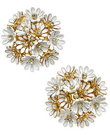 kate spade new york Gold-Tone Crystal & Imitation Pearl Flower Cluster Stud Earrings