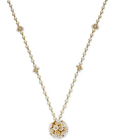 "kate spade new york Gold-Tone Crystal & Imitation Pearl Flower Pendant Necklace, 32"" + 3"" extender"