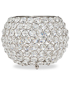 "Godinger Lighting by Design Glam 10"" Nickel-Plated Ball Crystal Tealight Holder"