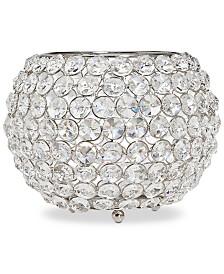 "Godinger Lighting by Design Glam 10"" Nickel-Plated Ball Crystal Tealight Holder"