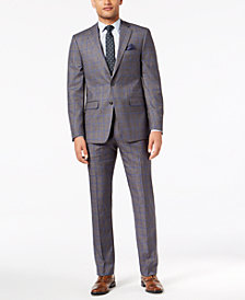 Sean John Men's Slim-Fit Stretch Gray/Blue Windowpane Suit Separates