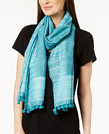 Eileen Fisher Organic Cotton & Silk Pom-Pom Scarf