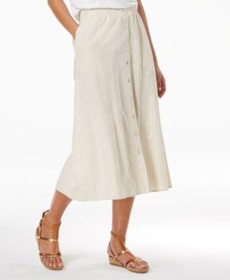 Organic Cotton Blend Button-Front Skirt