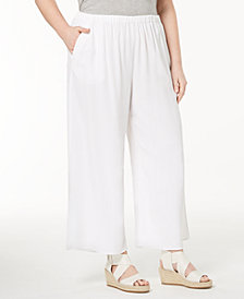 Eileen Fisher Plus Size Tencel® Crepe Wide-Leg Ankle Pants