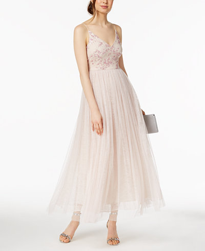 Adrianna Papell Petite Sequined Lace & Tulle Gown