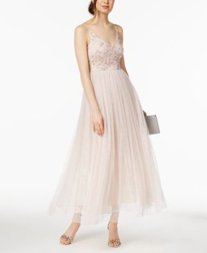 SEQUINED EMBROIDERED TULLE GOWN, REGULAR & PETITE SIZES