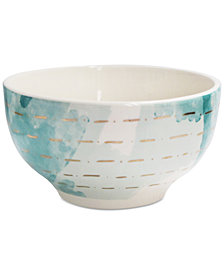 CLOSEOUT! Spring Soiree Aqua/Gold Rice Bowl, Created for Macy's
