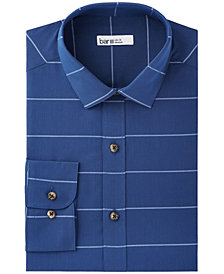 Bar III Men's Slim-Fit Stretch Easy-Care Navy/White Wide Horizontal Stripe Dress Shirt, Created for Macy's