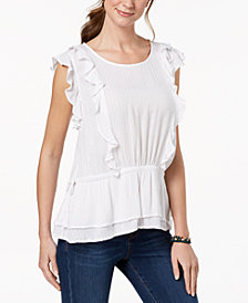 Style & Co Metallic Ruffled Top, Created for Macy's