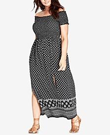 Trendy Plus Size Off-The-Shoulder Maxi Dress