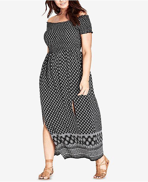 City Chic Trendy Plus Size Off-The-Shoulder Maxi Dress & Reviews ...