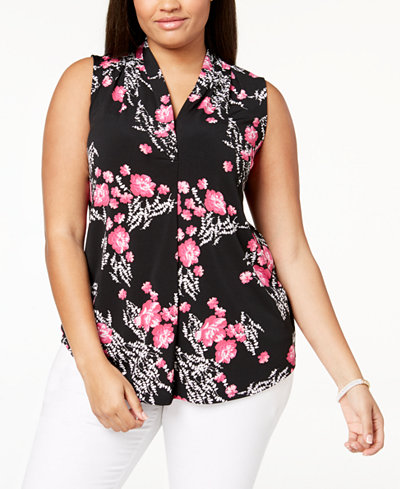 Charter Club Plus Size V-Neck Floral-Print Top, Created for Macy's