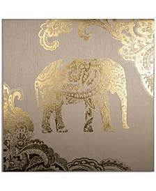 Golden Henna Elephant Metallic Canvas Print