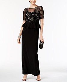 Adrianna Papell Embellished Peplum Gown