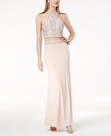Crystal Doll Juniors' Embellished Halter 2-Pc. Gown, Created for Macy's