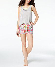 Jenni by Jennifer Moore Contrast-Trim Tank Top & Plaid Boxer Shorts, Created for Macy's