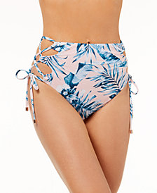 Bar III Tropic Garden Printed High-Waist Laced Bikini Bottoms, Created for Macy's