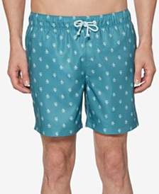 "Original Penguin Men's Penguin Print 6"" Elastic Volley Swimsuit"