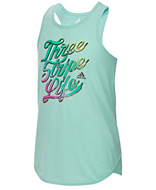adidas Graphic-Print Tank Top, Little Girls