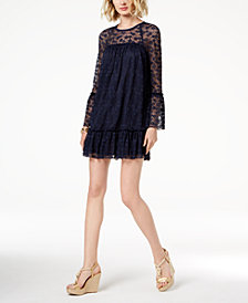 MICHAEL Michael Kors Lace Ruffle-Trim Dress, Regular & Petite