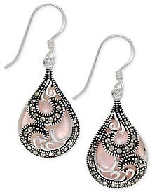 Marcasite & Pink Shell Teardrop Drop Earrings in Fine Silver-Plate