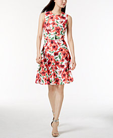 Calvin Klein Floral-Print A-Line Dress, In Regular & Petite Sizes
