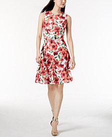 Calvin Klein Petite Floral-Print A-Line Dress