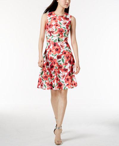 Calvin Klein Floral-Print A-Line Dress, In Regular & Petite Sizes