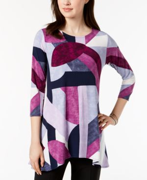 Image of Alfani Petite Printed High-Low Tunic, Created for Macy's