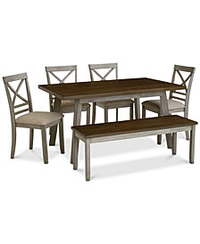 Fairhaven Dining Furniture, 6-Pc. Set (Table, 4 Upholstered Side Chairs & Bench), Created for Macy's