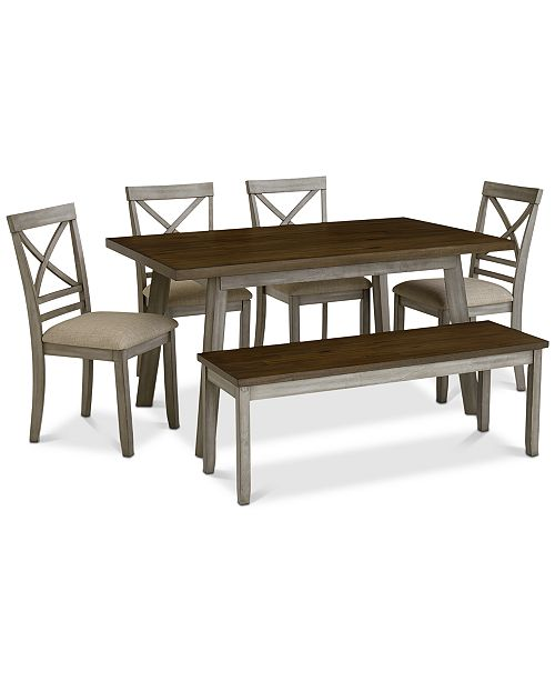 Furniture Fairhaven Dining 6 Pc Set Table 4 Upholstered Side