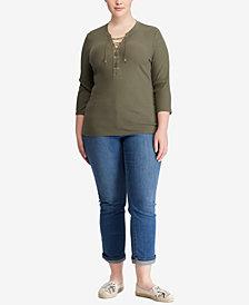 Lauren Ralph Lauren Plus Size 3/4-Sleeve Top