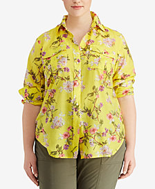 Lauren Ralph Lauren Plus Size Floral Long-Sleeve Shirt
