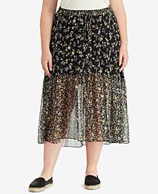 Lauren Ralph Lauren Plus Size Floral Georgette Maxi Skirt