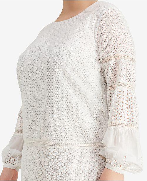 Lauren Ralph Lauren Plus Size Eyelet Lace Cotton Dress & Reviews ...