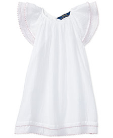 Polo Ralph Lauren Flutter-Sleeve Cotton Dress, Little Girls