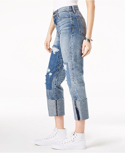 Hudson Cropped Patched Jeans St Zooey Jeans Counter Cotton 1WrvWTxn