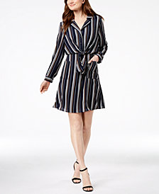 Monteau Petite Striped Tie-Front Shirtdress, Created for Macy's